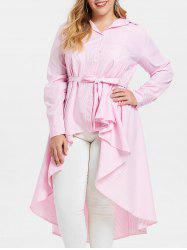 Belted Plus Size Striped High Low Shirt Dress -