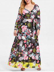Belted Crossover Floral Maxi Plus Size Dress -