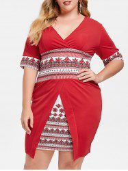 Plus Size Geometric Surplice Bodycon Dress -