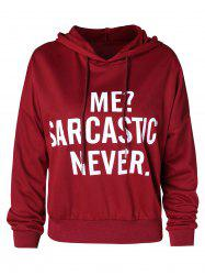 Letters Print Drawstring Pullover Hoodie -