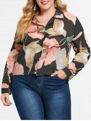 Plus Size Flower High Low Shirt -