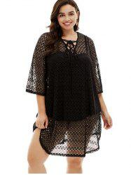 Plus Size Lace-up Cover Up -