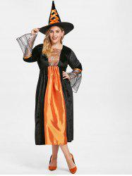 Flare Sleeve Plus Size Halloween Maxi Dress with witch Hat -