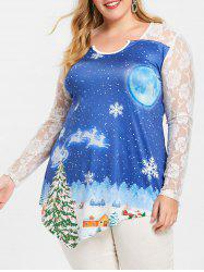 Christmas Snowflake Lace Insert Plus Size T-shirt -