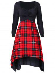 Plaid Print Vintage Handkerchief Dress -