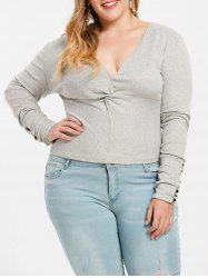 Plus Size Twist Front Plunge T-shirt -