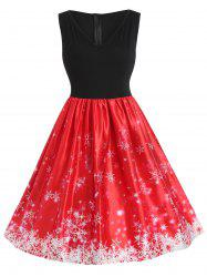 Plus Size Christmas Snowflake Vintage Flare Dress -