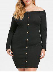 Ribbed Plus Size Off The Shoulder Dress -