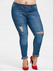 Distressed Plus Size Dark Wash Jeans -