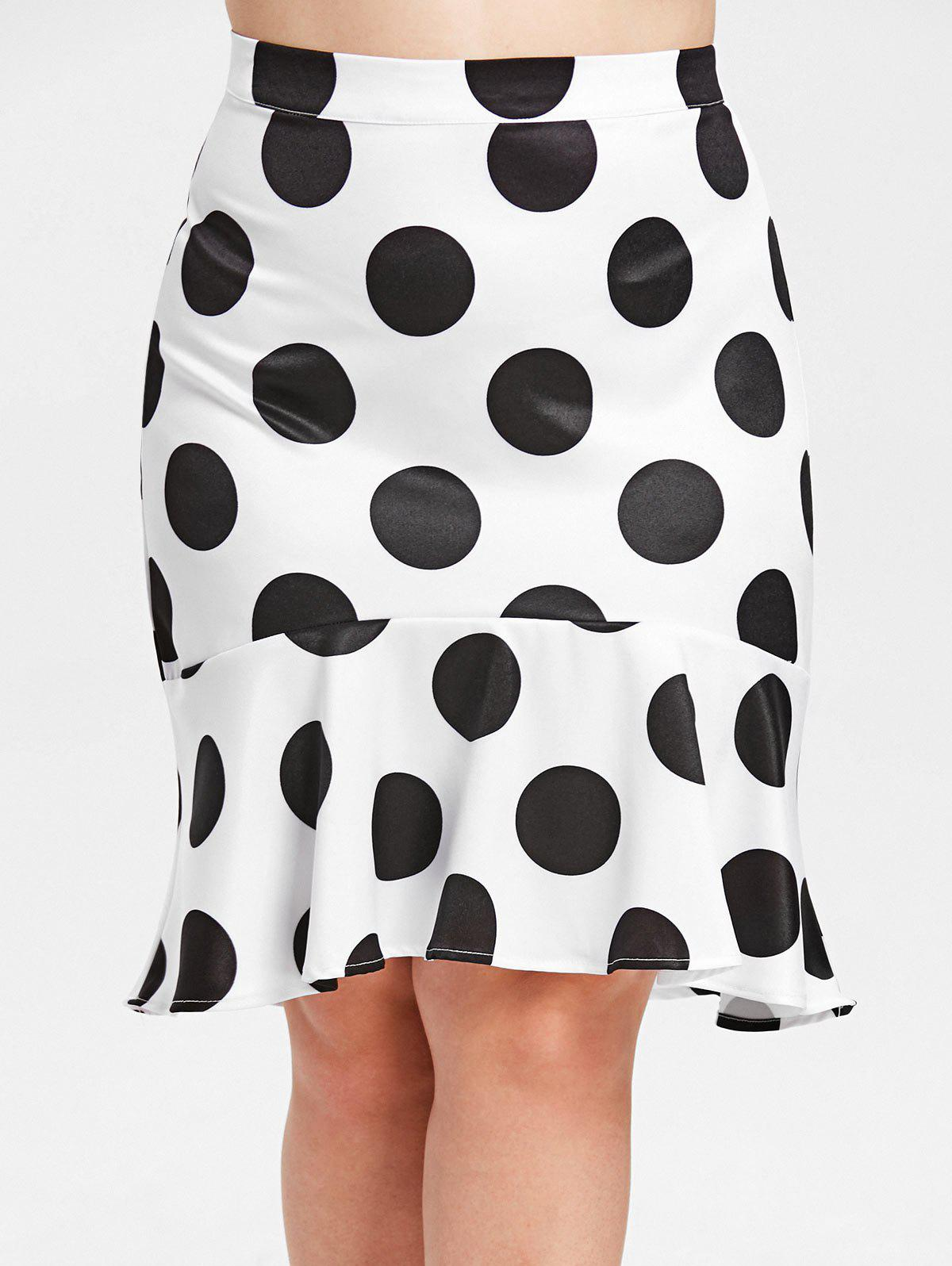 Cheap Flounce Plus Size Polka Dot Skirt