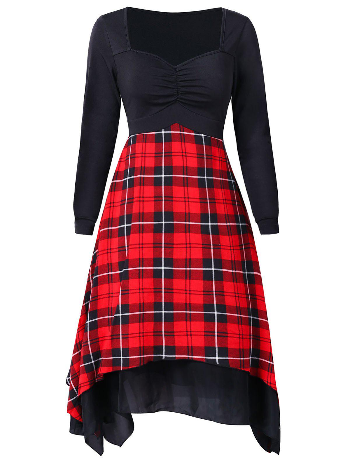 Best Plaid Print Vintage Handkerchief Dress