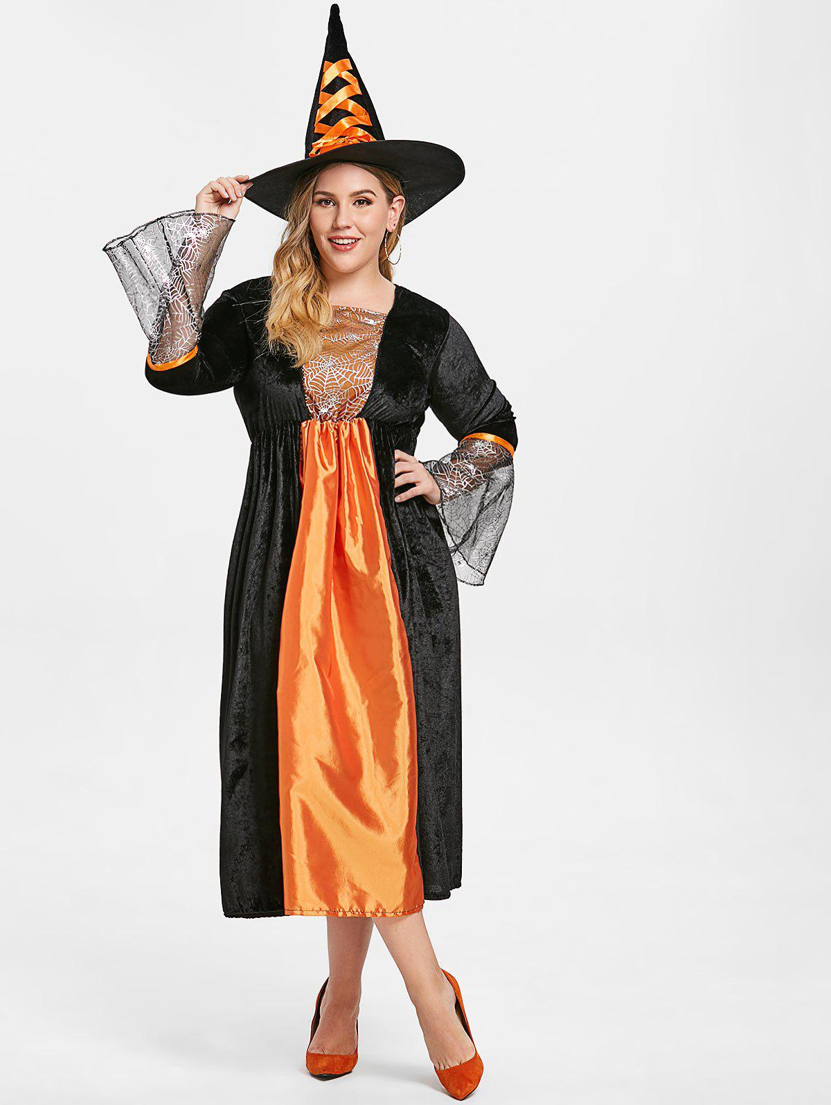 Latest Flare Sleeve Plus Size Halloween Maxi Dress with witch Hat