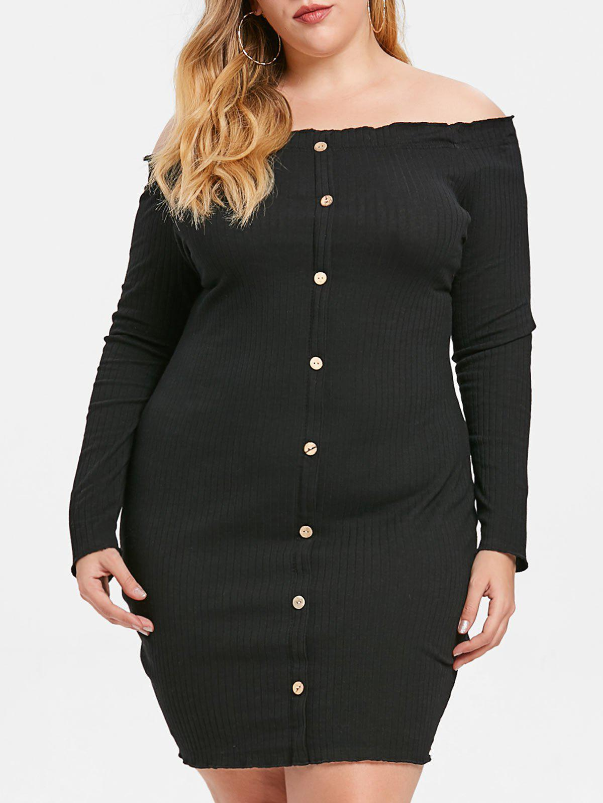 Fancy Ribbed Plus Size Off The Shoulder Dress