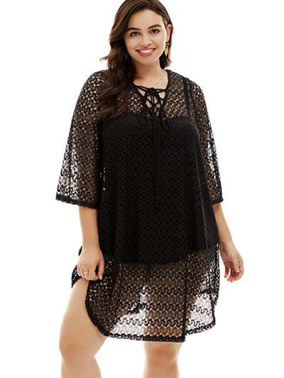 Latest Plus Size Lace-up Cover Up