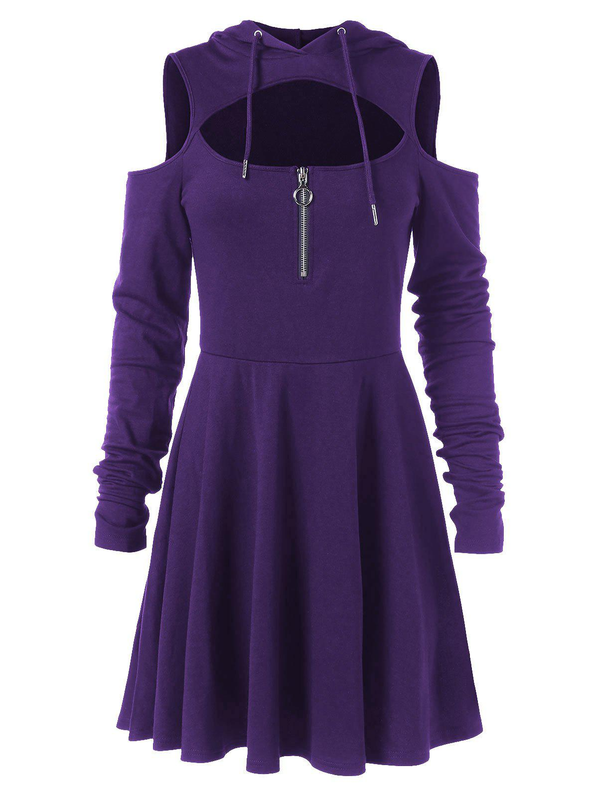 Hot Cut Out Full Sleeve Flare Hooded Dress