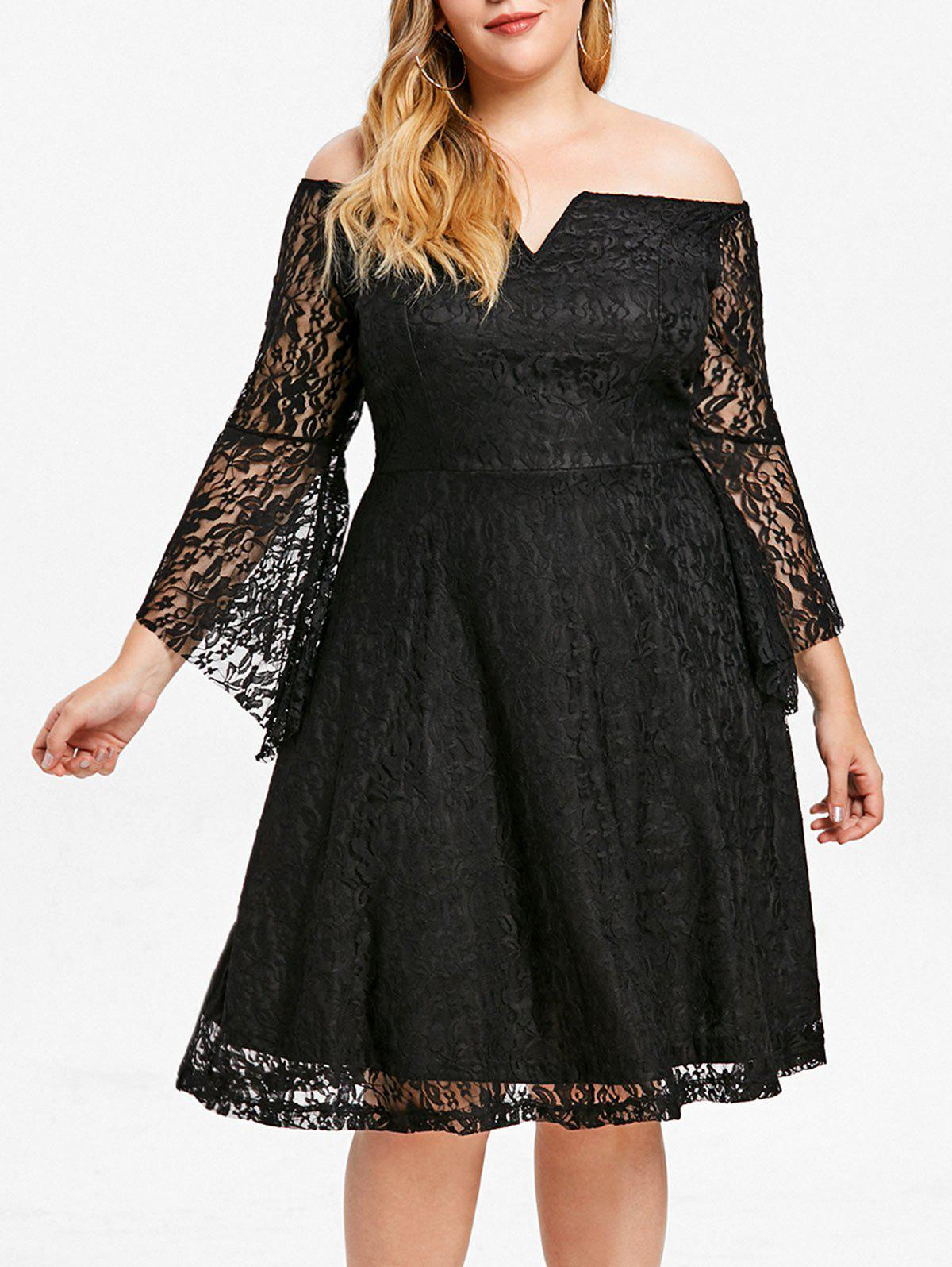 Trendy Wired V Lace Off Shoulder Plus Size Dress