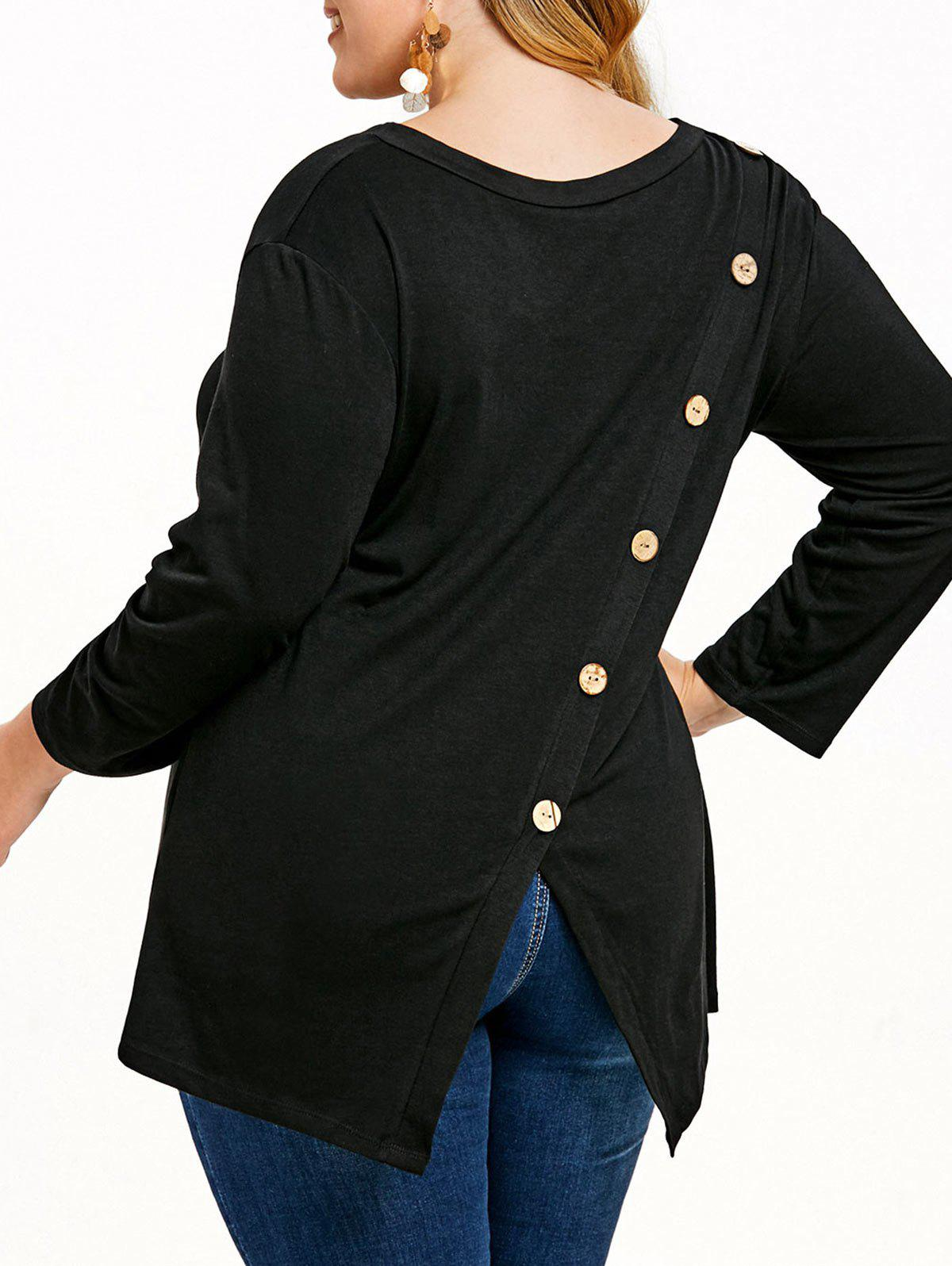 Discount Contrasting Buttons Plus Size Tunic Tee