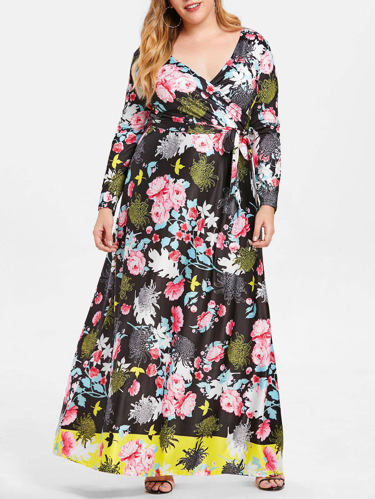 Trendy Belted Crossover Floral Maxi Plus Size Dress