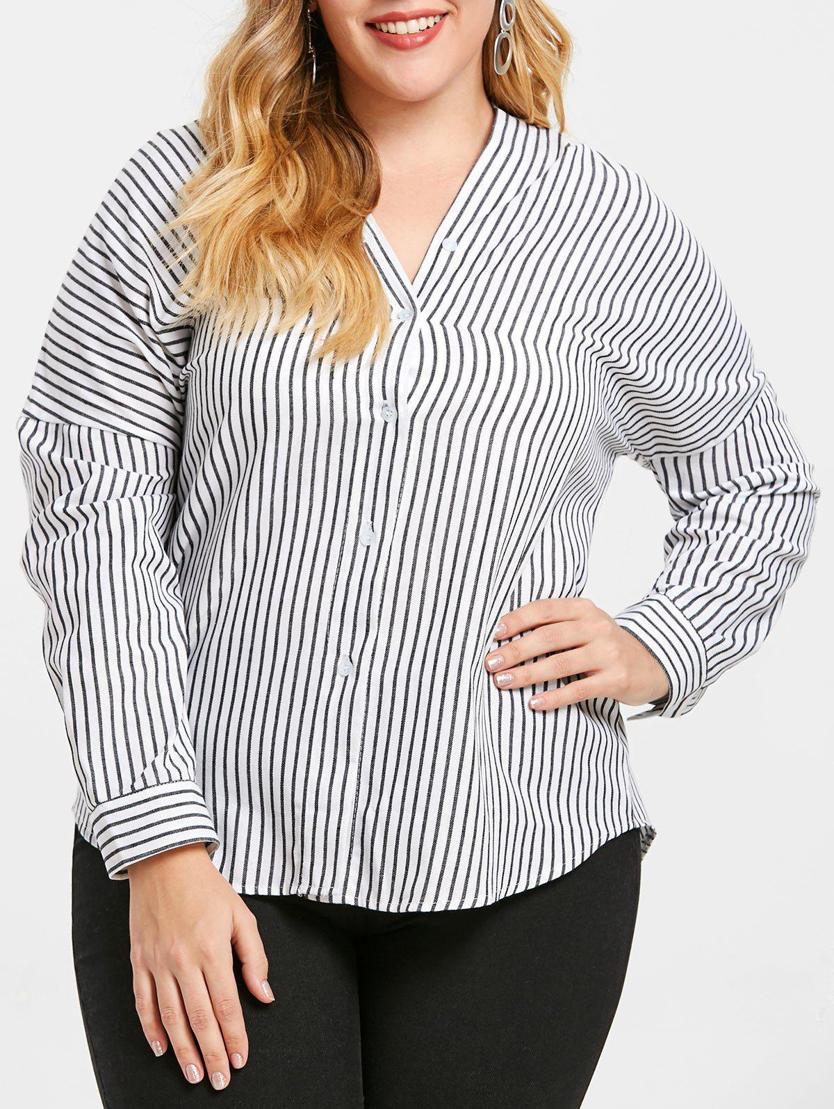 new design nice cheap sophisticated technologies Plus Size Striped V Neck Blouse