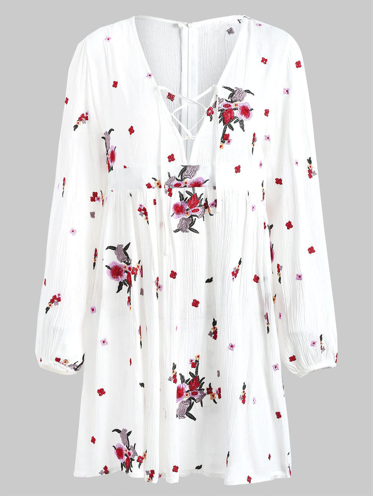 Affordable Floral Embroidery Long Sleeve Casual Dress