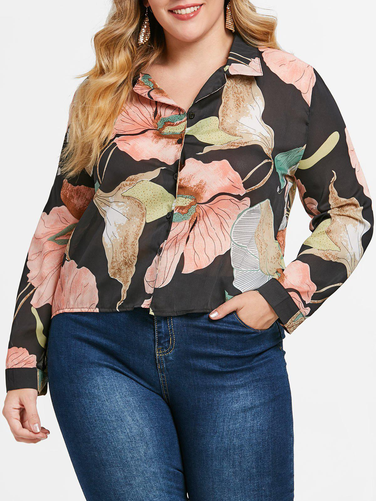Trendy Plus Size Flower High Low Shirt