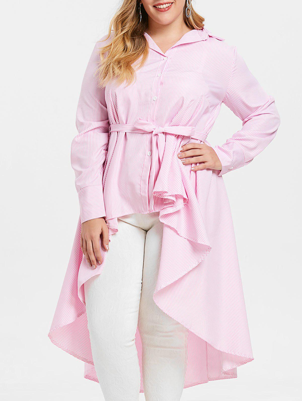 Discount Belted Plus Size Striped High Low Shirt Dress