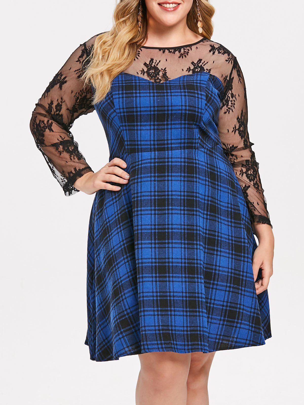 Chic Plus Size Sheer Lace Illusion Checked Skater Dress