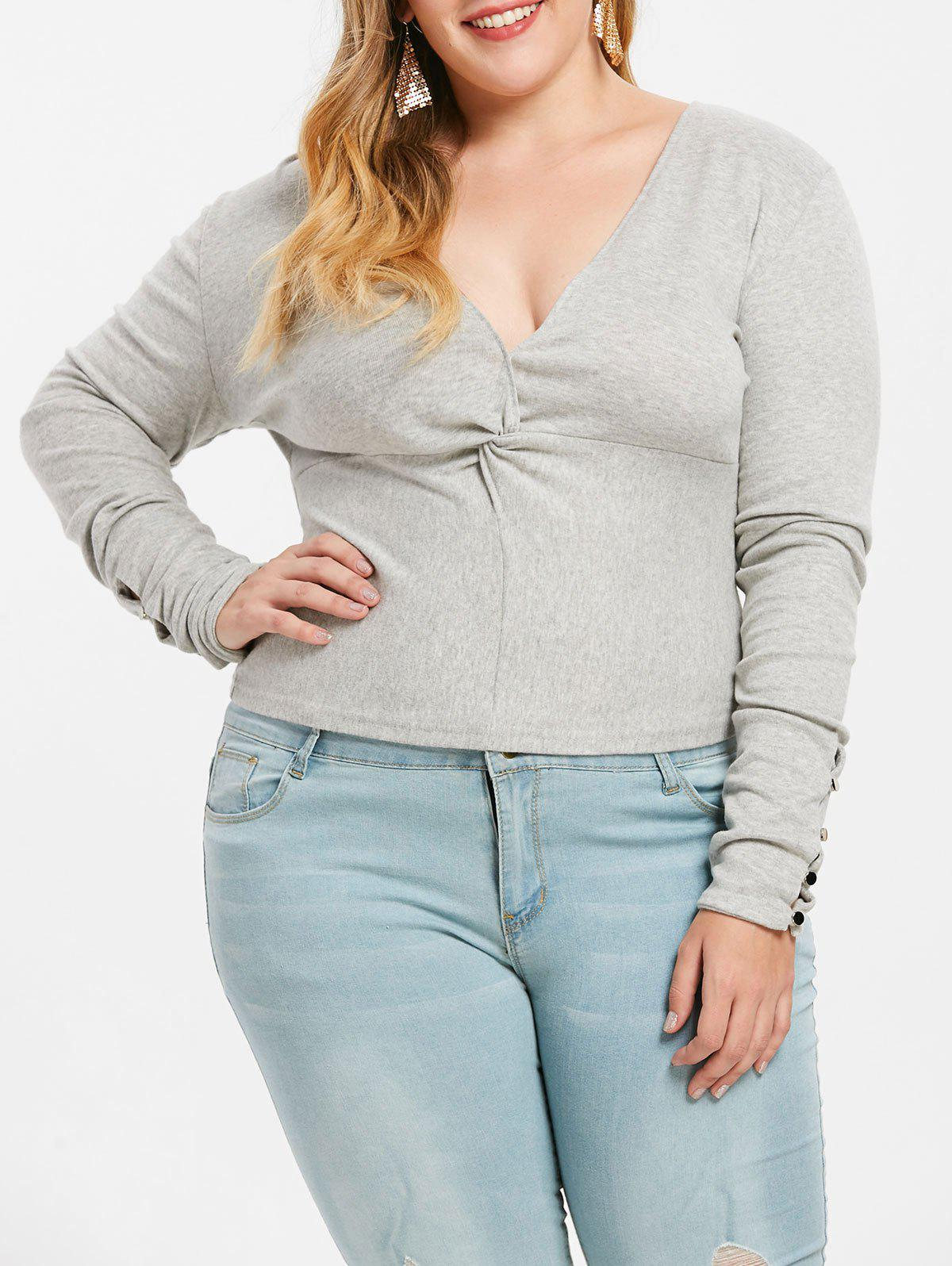 Best Plus Size Twist Front Plunge T-shirt