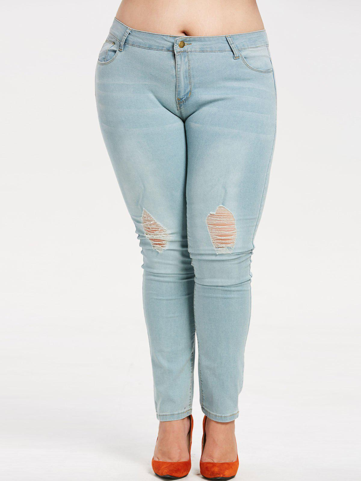8386398778fb6 2019 Ripped Plus Size Faded Jeans