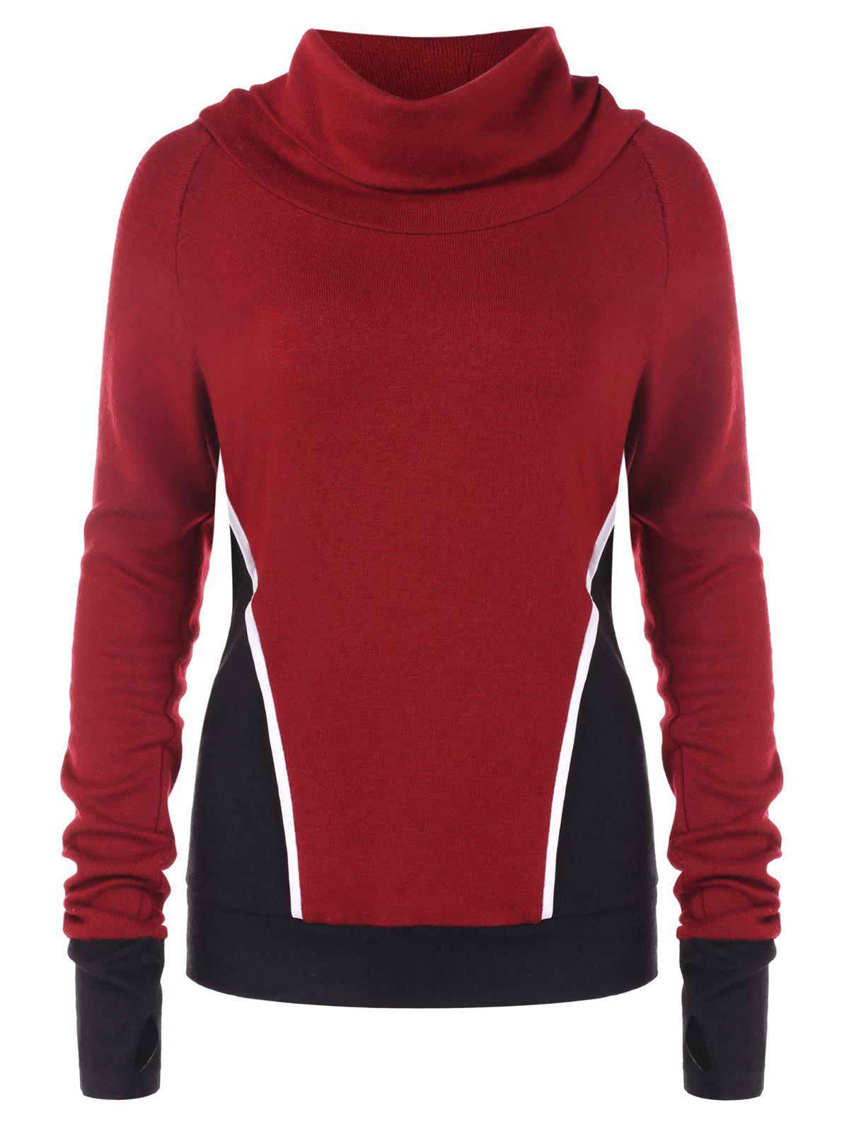 Sweat-shirt en Blocs de Couleurs à Col Roulé Rouge Vineux L
