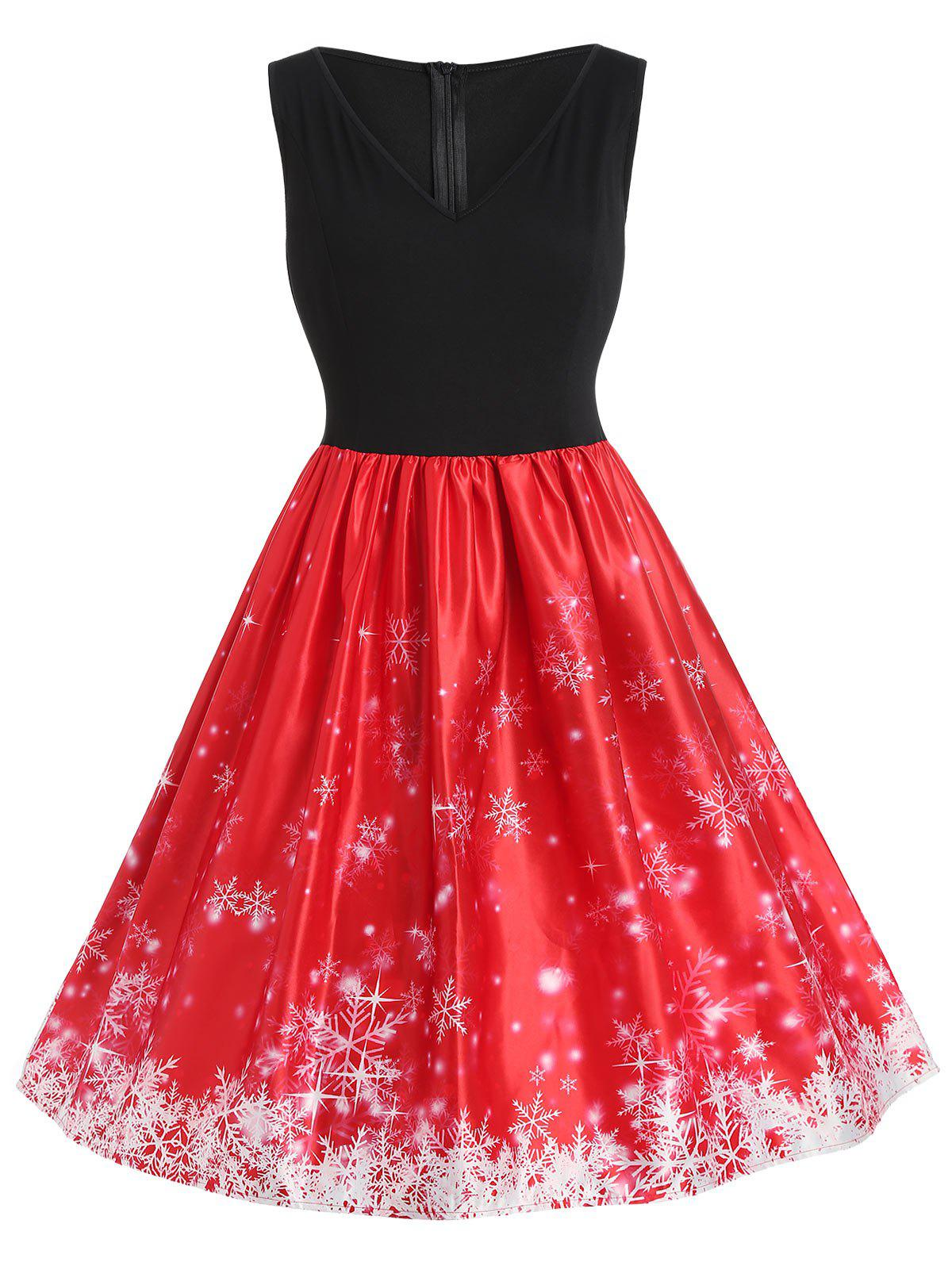 Online Plus Size Christmas Snowflake Vintage Flare Dress