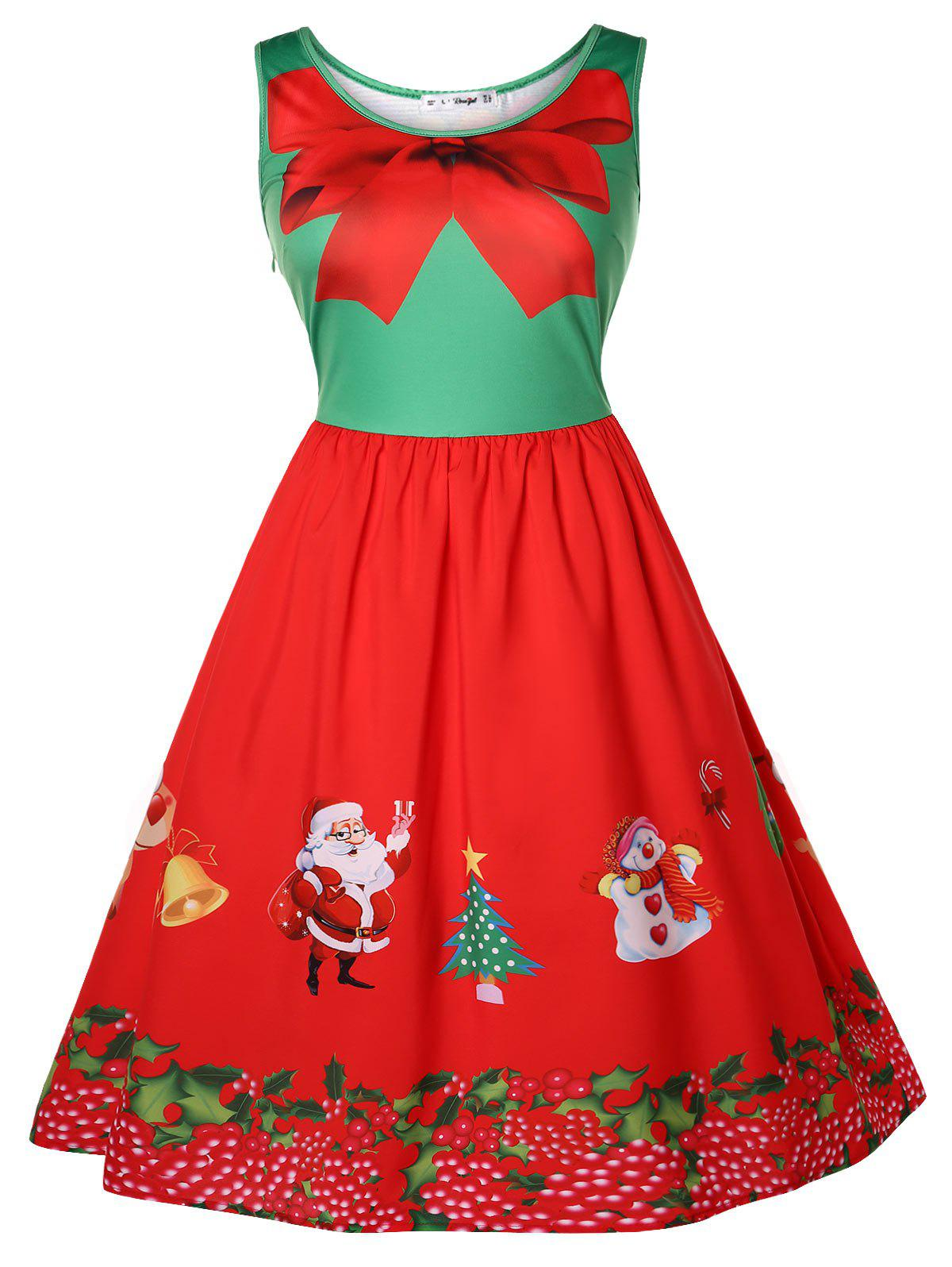 Christmas Plus Size Vintage Printed Pin Up Dress