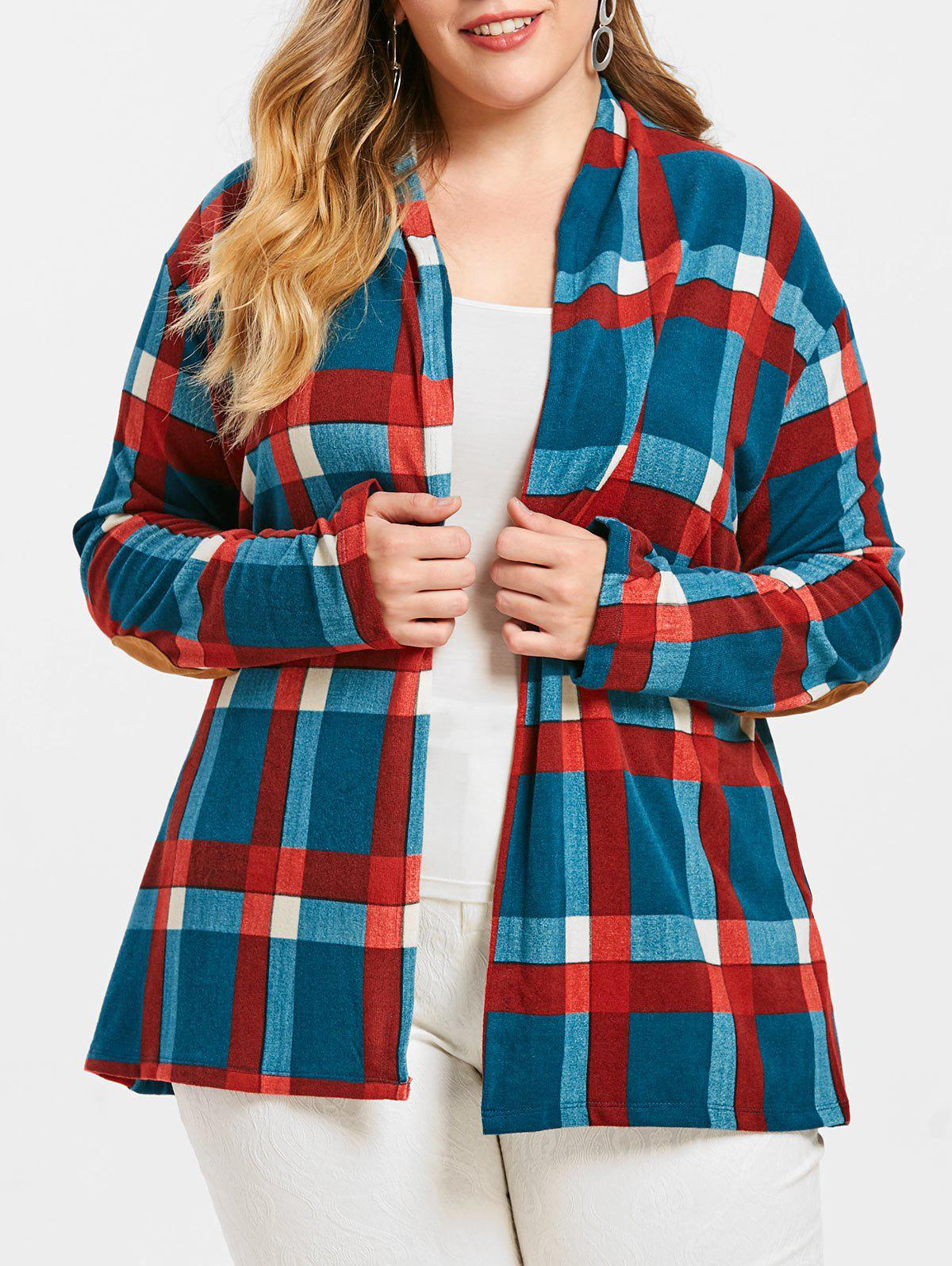 New Open Front Checked Plus Size Cardigan