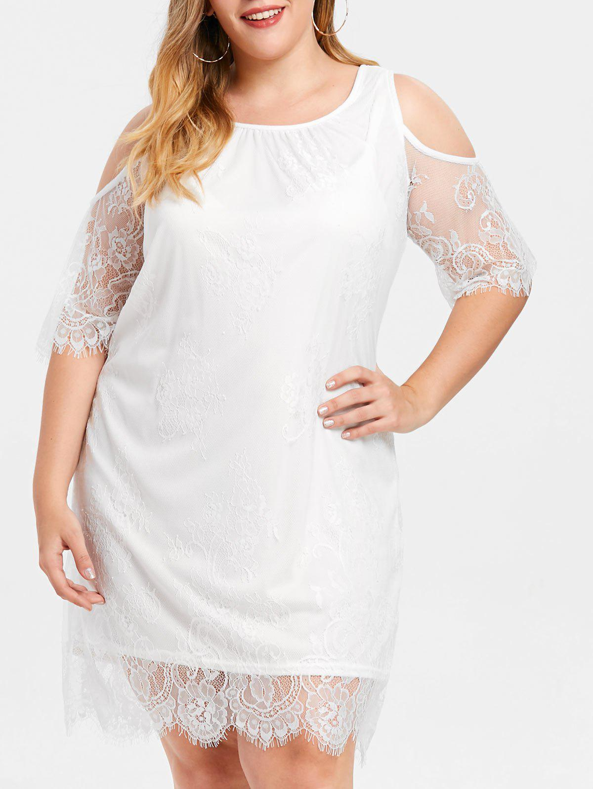 Sale Shift Cold Shoulder Plus Size Lace Dress