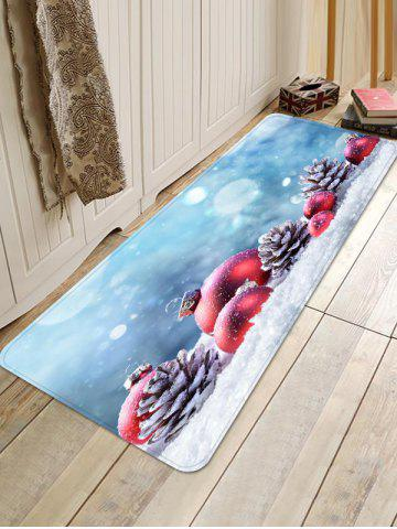 Christmas Ball Pine Cone on Snow Print Area Rugs - MULTI - W16 X L47 INCH