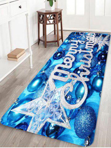 Glitter Christmas Ball Letter Print Area Rugs - BLUE - W24 X L71 INCH