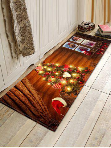Shiny Christmas Tree Santa Bear Print Area Rugs