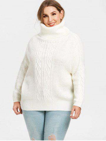 Turtleneck Plus Size Cable Knit Pullover Sweater