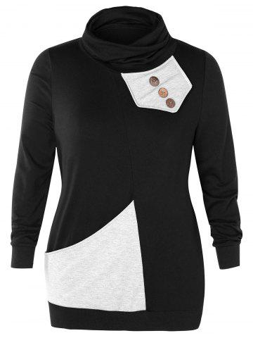 Cowl Neck Plus Size Button Embellished Sweatshirt