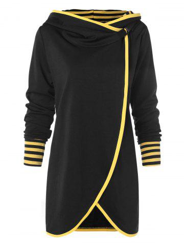 Hit Color Long Asymmetrical Hoodie