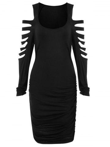 Ladder Cut Out Ruched Mini Dress