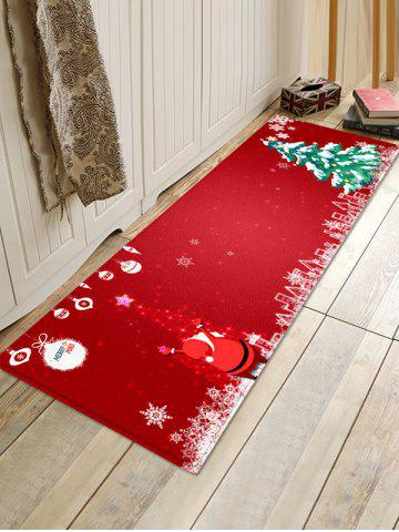 Sparkle Christmas Tree and Santa Print Area Rugs - RED - W16 X L47 INCH