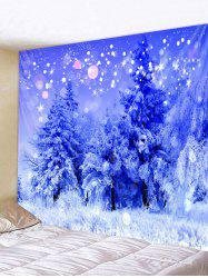 Christmas Snowy Forest Print Removable Wall Tapestry -