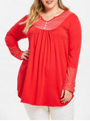 Polka Dot Long Sleeve Plus Size Tunic Tee -