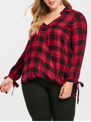 Plus Size Checked Crossover Shirt -