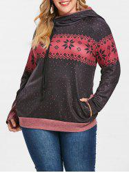 Printed Layered Hood Plus Size Hoodie -