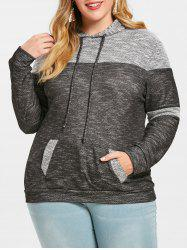 Plus Size Pouch Pocket Pullover Hoodie -