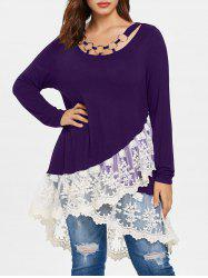 Plus Size Lace Panel Layered T-shirt -