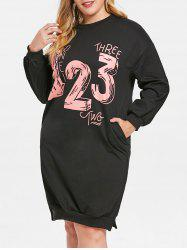 Number Print Plus Size Side Slit Sweatshirt Dress -