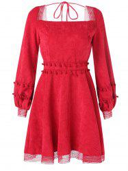 Long Sleeve Corduroy Skater Dress -